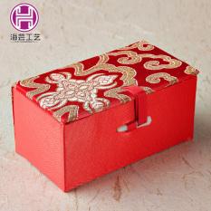 Haiyungongyi Cina Perhiasan Kotak Kemasan Barang Antik Kacang Walnut Stempel Kotak Kotak Brocade