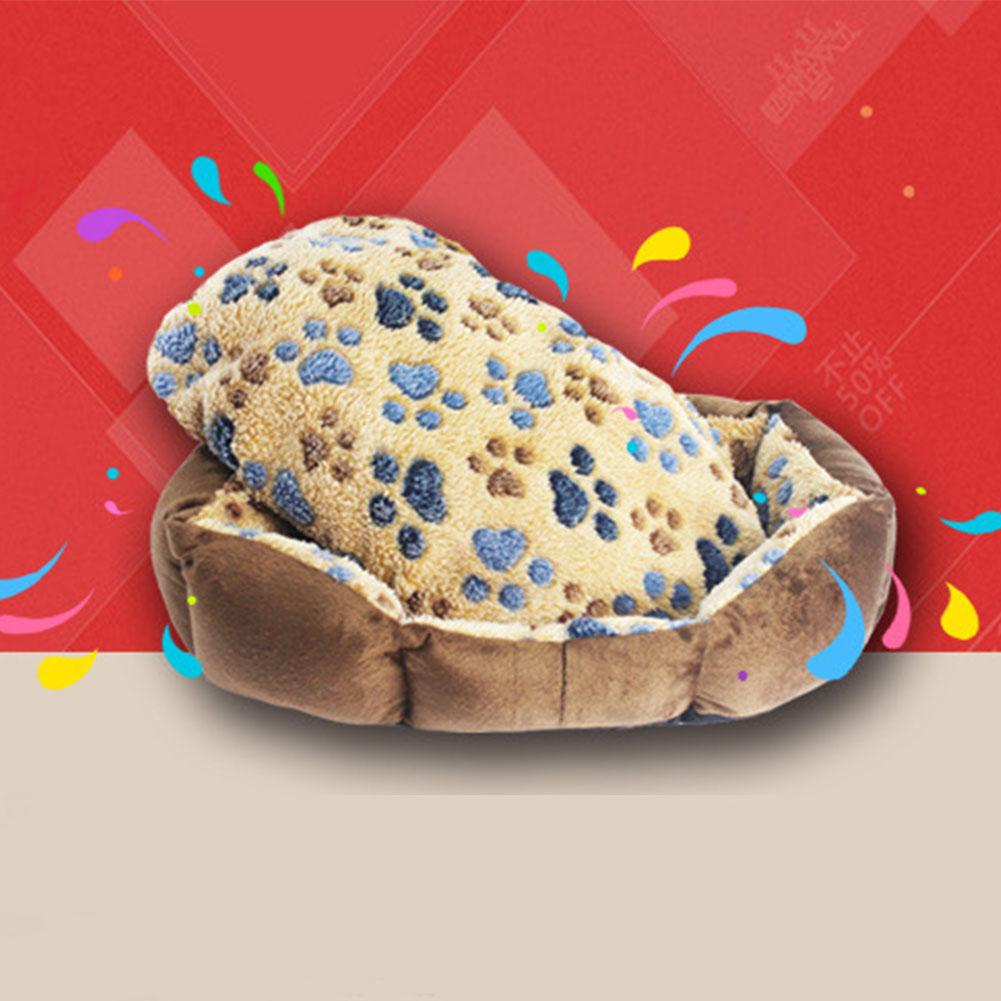 ... Hangat lembut pola tapak kucing anjing kandang anjing tempat tidurtikar Sofa bantalan bantal - International ...