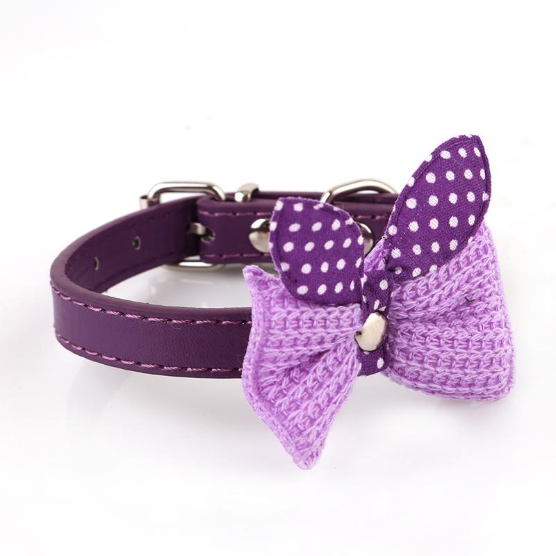 Hanyu Pet Dog Cat Toy Cute Bow Tie Necktie Collars Purple XS - intl