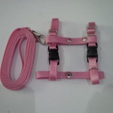 Harness H uk S + Leash Pink Muda untuk Kucing, Kelinci, Musang, Puppy Small breed