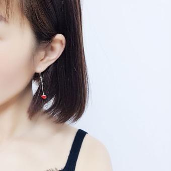 Online murah Hati Merah S925 Liar Perempuan Temperamen Cinta Anting-Anting Kawat Telinga Harga baru