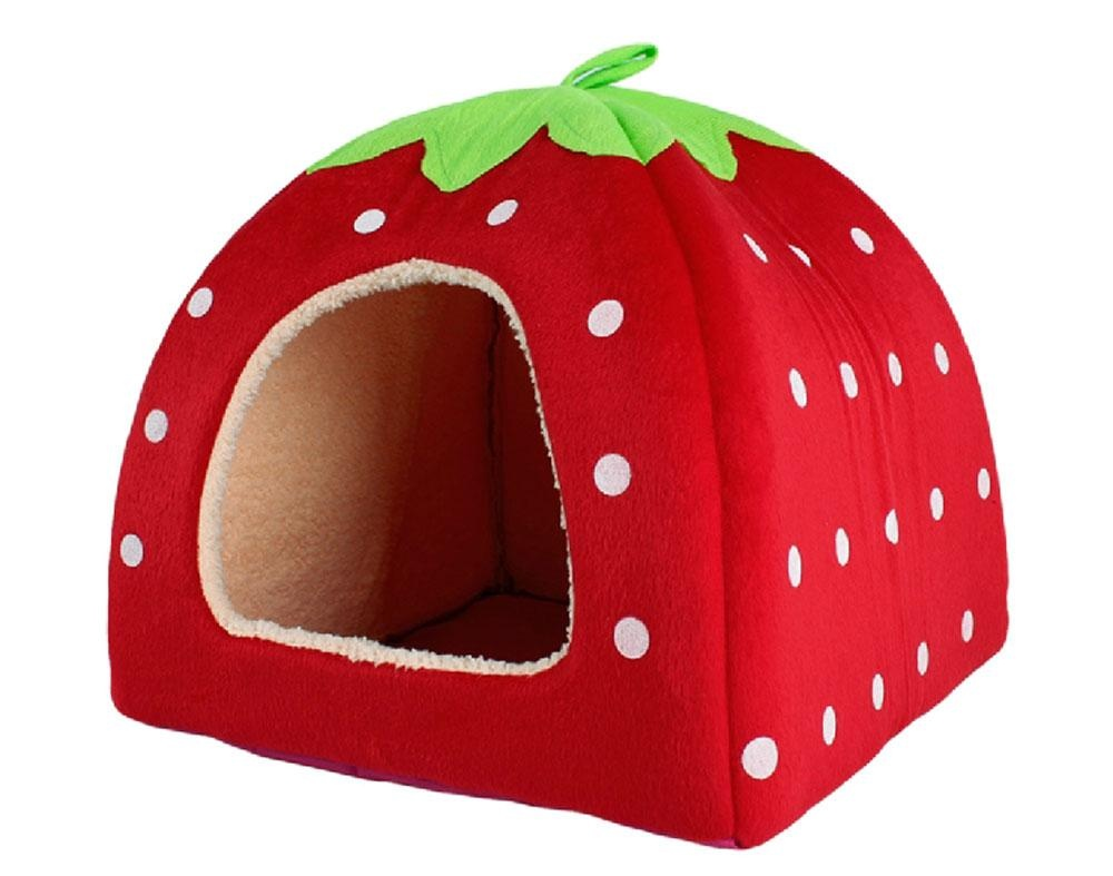 hazobau Unique Cute Strawberry Shape Pet House Cat Dog Puppy Bed(Red, M) - intl