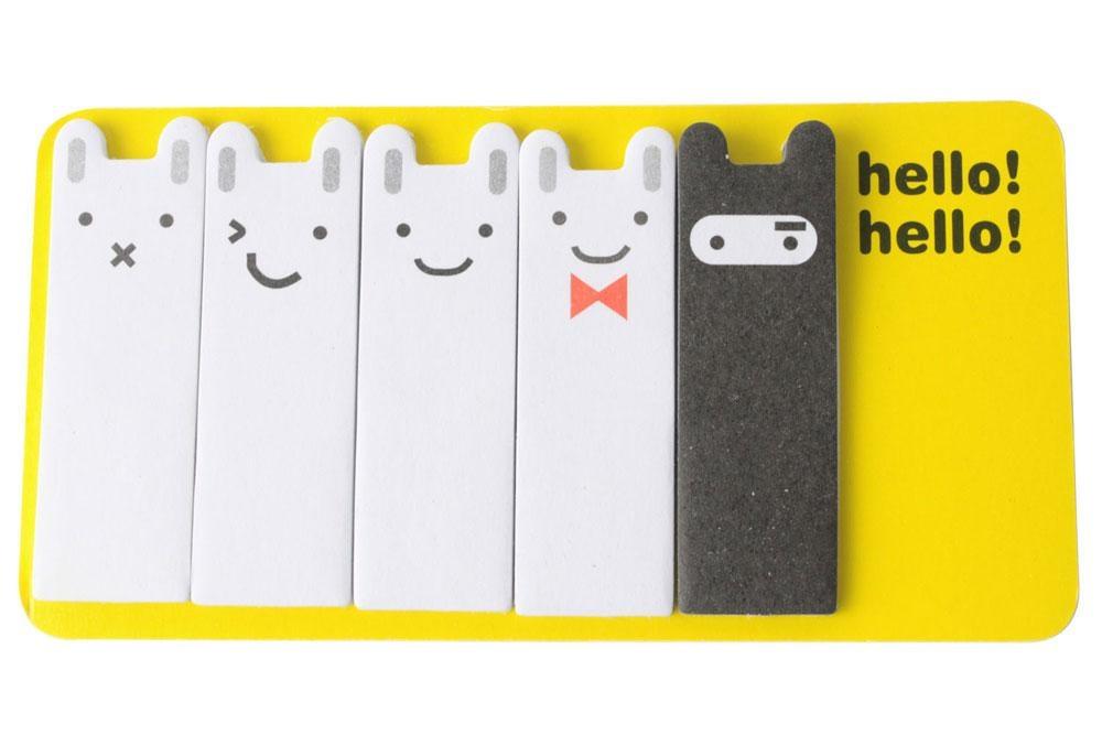 hazyasm Cute Dual Purpose Ninja Rabbit Scrap Paper Bookmark (RandomColor) - intl