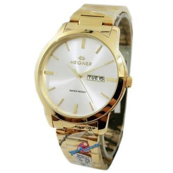 Hegner - H3906M - Jam Tangan Pria - Strap Stainless Steel - Gold Putih