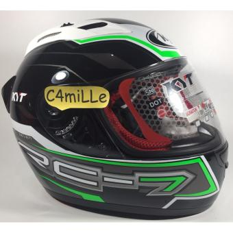 Helm Full Face KYT RC7 / RC 7 #14 Black White Green Fluo