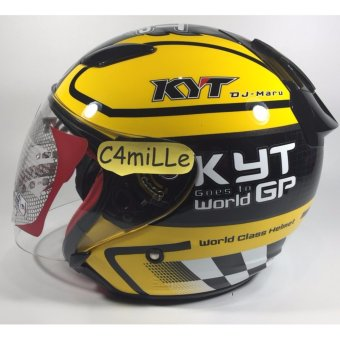HELM KYT DJ MARU #11 BLACK YELLOW HALF FACE
