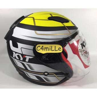 Helm KYT Dj Maru #13 black matt yellow Half Face