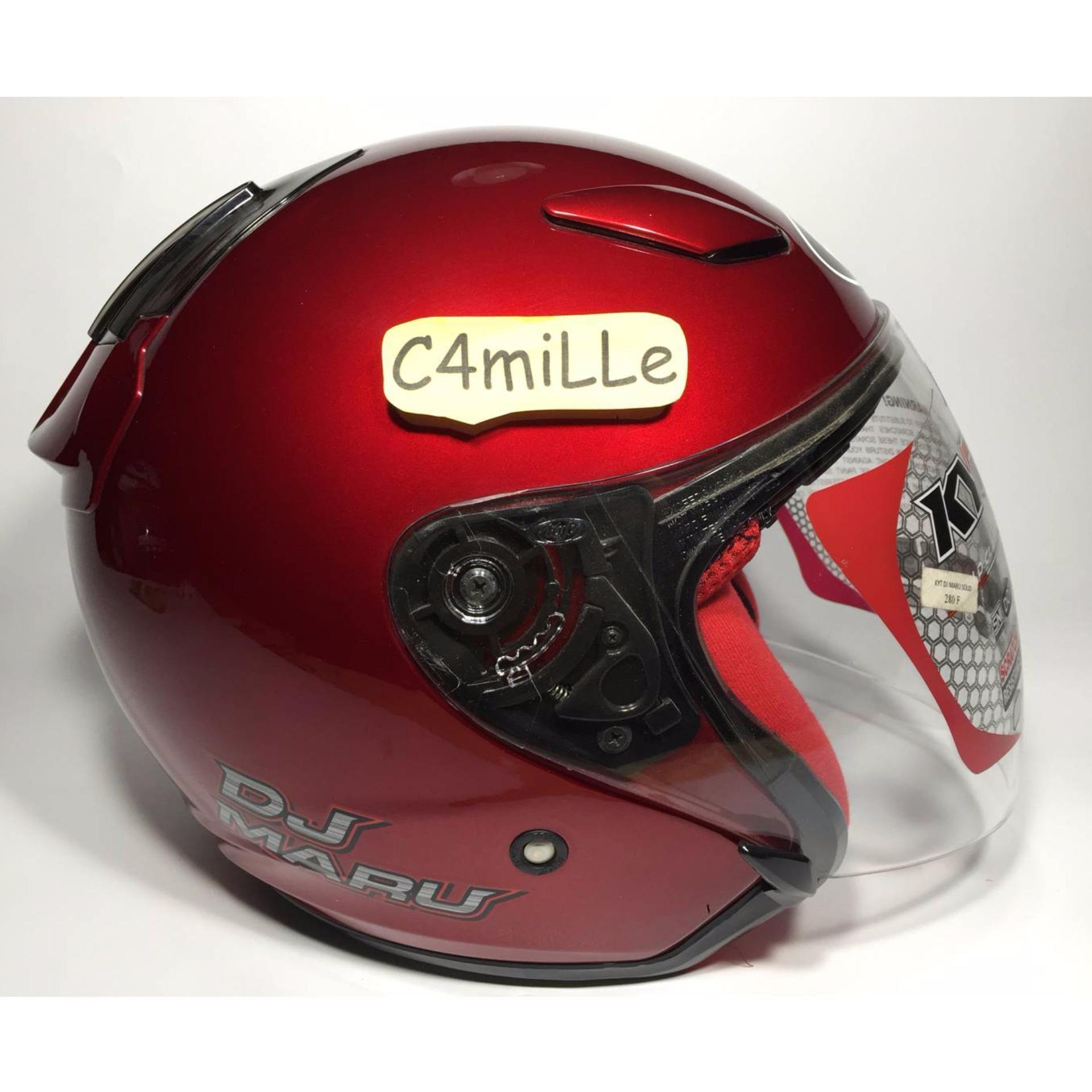 Helm KYT Dj Maru Solid Merah Maroon / Red Maroon .