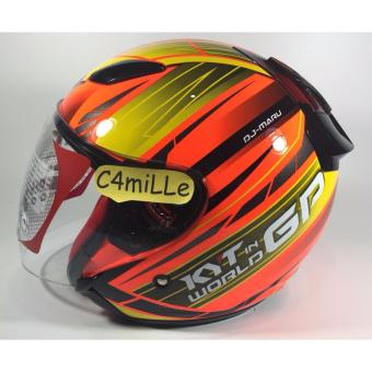 HELM KYT DJ MARU WORD GP READY #02 RED FLUO CR YELLOW HALF FACE