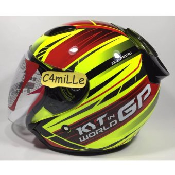 HELM KYT DJ MARU WORD GP READY #02 YELLOW FLUO RED MAROON GUN METAL HALF FACE