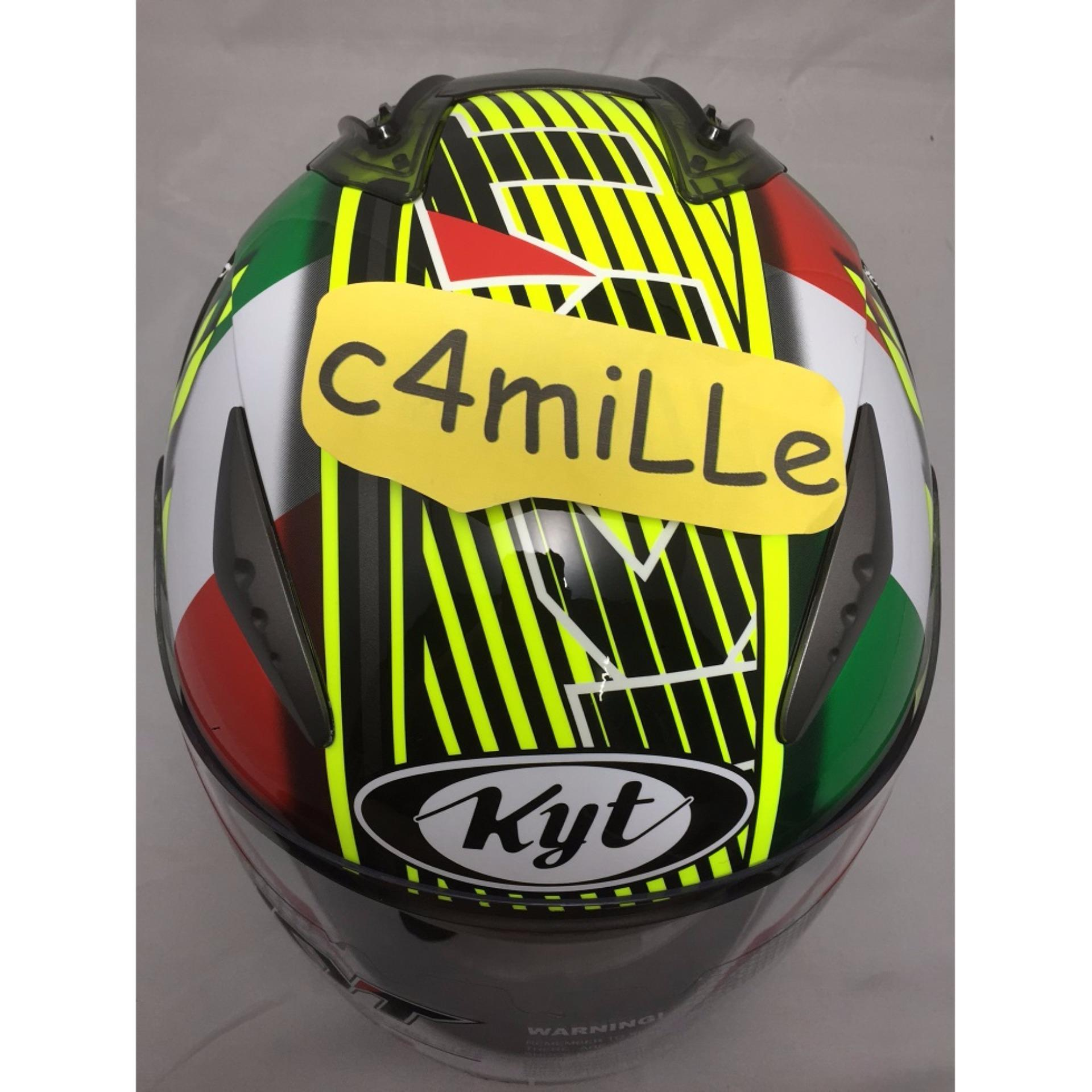 Helm Kyt R10 Philip Island Gp Rc Circuit Yellow Fluo Green Blue Full Race Aqua Marine Flat Visor Face Super Source