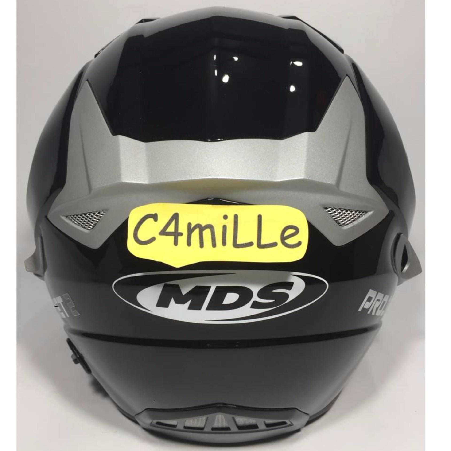 HELM MDS PROJET 2 SOLID BLACK DOUBLE VISOR HALF FACE .