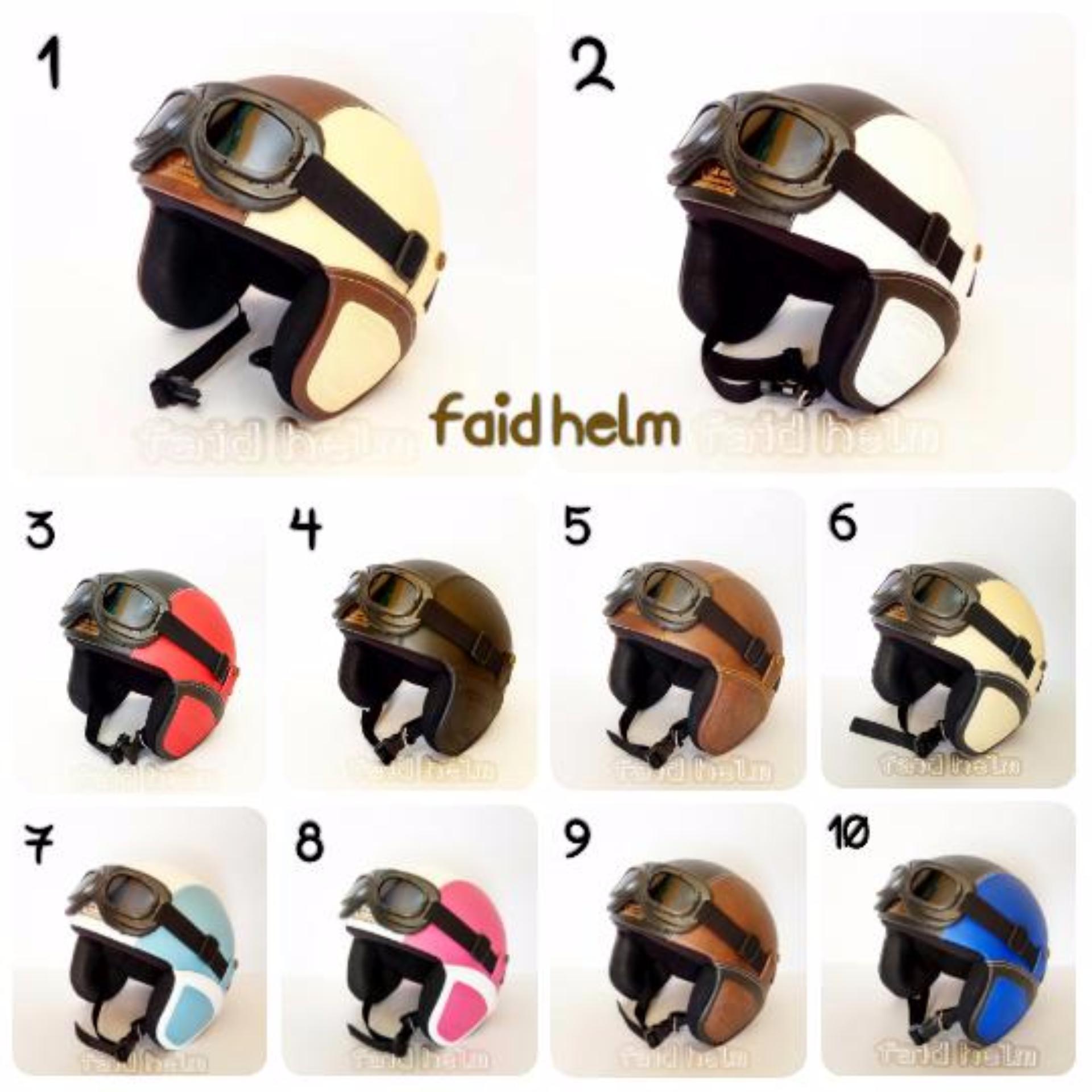 Flash Sale Helm Retro Kulit Unik Klasik Kaca Mata Gogle