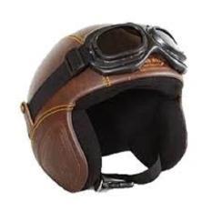 helm retro kulit unik klasik kaca mata gogle - COKLAT