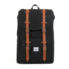 Herschel Little America Mid-Volume Classic Backpack - Hitam-Tan Synthetic Leather