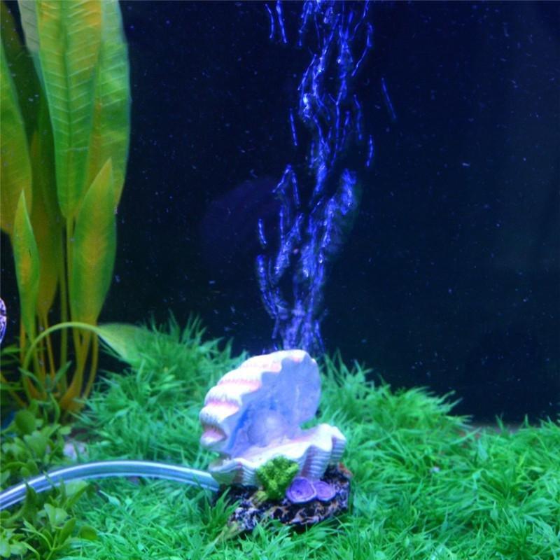 IBERL 1pc Shell Pearl & Air Stone Aquarium Fish Tank OrnamentShell Bubbler Bubbling Decor - intl