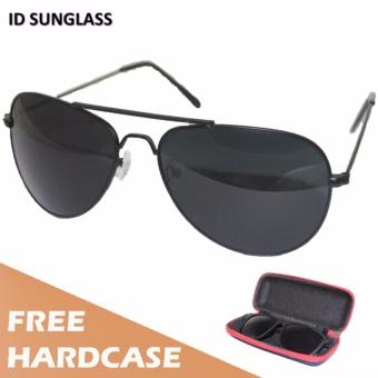 ID Sunglass - Kacamata Aviator Pria Wanita - Frame Hitam - Lensa Hitam SUN 1002-