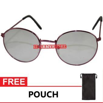 ID Sunglass - Round Bulat Pria Wanita Frame - Pink Lensa - Transparan SUN 1066-06