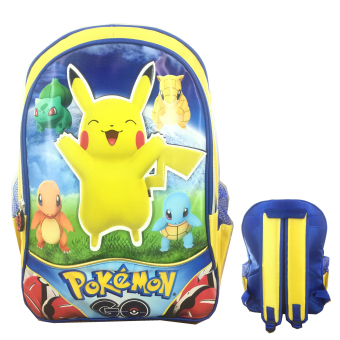 BGC Pokemon Go Pikachu 3D Timbul Tas Ransel Sekolah Anak TK