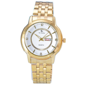 Harga Saint Costie - Jam Tangan Wanita - Body Gold - White Dial - Stainless Steel Band - SC-RT-5355L-GW