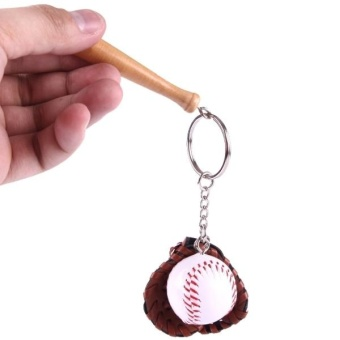 Sporty Baseball and Bat and Gloves Keychain - intl