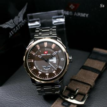 ... Swiss Army Aviation Jam Tangan Pria Full Stainless Steel Water Resistant Bonus Exlusive Strap and