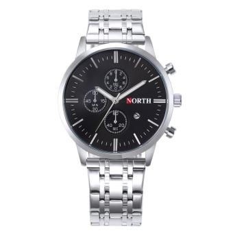Harga coconie North Calendar Quartz Wrist Watch Stainless Steel Bracelet Men Watch - intl