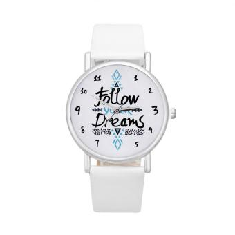 Harga coconi Women Follow Dreams Words Pattern Leather Watch Beige - intl