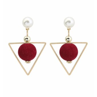 LRC Anting Tusuk Fashion Claret Red Fuzzy Ball&triangle Shape Decorated Color Matching Earrings