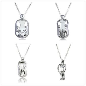 Harga Fashion Family I Love You Mother Mom dad sister Gift Silver Pendants Statement Choker Necklace Pregnant Jewelry - intl