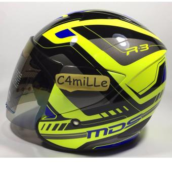Harga HELM MDS R3 RACE FLUO EDITION YELLOW FLUO BLUE HALF FACE