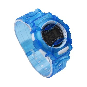 Harga Boys Girls Children Students Waterproof Digital Wrist Sport Watch Blue - intl