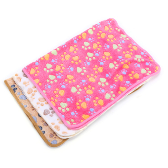 Harga Pet Small Large Paw Print Dog Puppy Pig Cat Warm Fleece Soft Blanket Beds Mat( pink-XS- 40*60cm) - intl