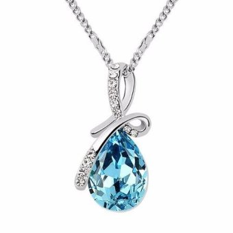Harga Santorini Wanita Liontin Kalung Fashion Silver Plated Crystal Pendant Women Jewelry Necklace - Blue