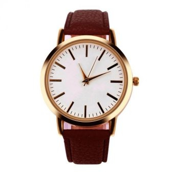 Harga Coconie Women Men Band Analog Quartz Business Wrist Watch Coffee Free Shipping