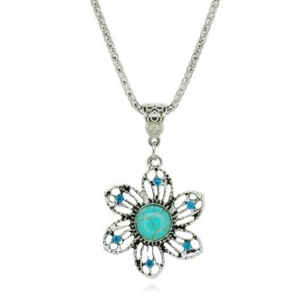 Harga Jiayiqi Hollow Flowers Turquoise Crystal Pendant Necklaces