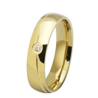 Baja tahan karat dan 18 karat berlapis emas pesona klasik kristal pertunangan cincin pernikahan cincin untuk