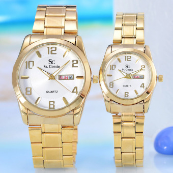 Harga Saint Costie - Jam Tangan Pria&Wanita - Body Gold - SC-RT-5041GL-GW - Couple