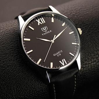 YBC pria jam kuarsa bisnis PU kulit tahan air jam tangan hitam - International