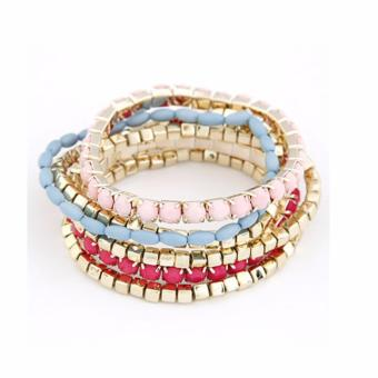 LRC Gelang Tangan Mexican Pink Sweet Multilayer Bead Korean Fashion Bracelet