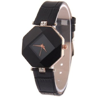 Harga Santorini Jam Tangan Wanita Fashion Faux Leather Luxury Women Analog Quartz Wrist Watch - Black