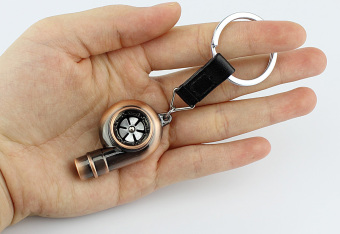 Harga Red bronze Real Sound Whistle Spinning Turbo Bearing Keyring Turbo Charger Key Chain