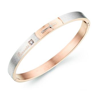 Queen Titanium Steel Simple Atmospheric Diamond Cross Couple Bracelet(Rose Gold)