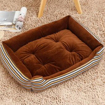 Harga Soft Dog Bed Kennel Mat Sofa Pet House Cats Dogs Bed House Plush Cozy Nest Dog Blanket Cushion ( XS ) (Coffee-Stripe ) 50x38x15cm - intl