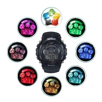 Harga Boy Girl Alarm Date Digital Multifunction Sport LED Light Wrist Watch BK - intl