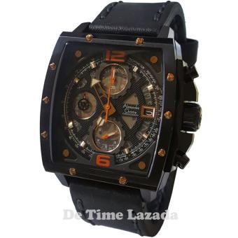Alexandre Christie AC6376-C Jam Tangan Pria Strap Leather Hitam Lis Orange