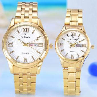 Harga Saint Costie Jam Tangan Pria & Wanita - Body Gold – White Dial – Stainless Stell Band - SC-RT-5101-GW -GL-Couple- Japan Movt