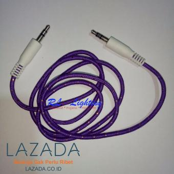 Harga Kabel Aux Kabel Audio Hp ke Speaker 1 ke 1 Jack 3,5mm Tali Sepatu - Purple