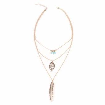 ... Ofashion As Korea Gemstone Feather Diamond Necklaces C13416 Black Source Fancyqube Bohemian leaves hand beaded