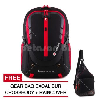 Harga Gear Bag - Cyborg X23 Laptop Backpack - Black Red + Raincover + FREE Gear Bag Excalibur Crossbody 85